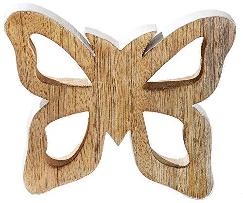 dekojohnson deco vlinderfiguur van mangohout - vensterbank decoratie om neer te zetten - houten vlinder bruin wit 15 cm