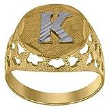 Anillo de oro de 10 quilates con inicial K para hombre, mide 16 x 3,20 mm de ancho, talla S 1/2 (más alto grado de oro que oro de 9 quilates)