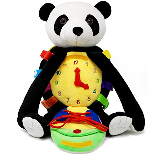 Buckle Toy - Bamboo Panda Activity Backpack - Developmental Toys with Zippers, Buckles, Snaps, Clock, Shoes Laces; Promotes Problem Solving and Learning, Great Toddler Travel Toy for Boys and Girls