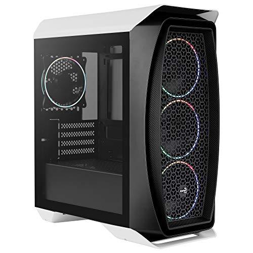Aerocool AEROONEMINIECLIP, caja PC Micro ATX, 4 ventiladores, 2 paneles, blanco/negro