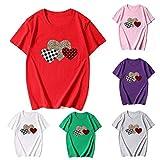 Yesmile Mujer Camisetas Valentín Clásicas Otoño Camisas Letras Mangas Cortas de Chicas O-Cuello Multicolor Tops S-XXXL
