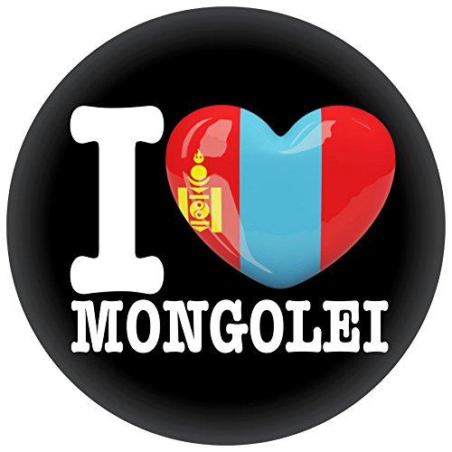 FanShirts4u Button/Badge/Pin - I Love MONGOLEI Fahne Flagge (I Love Mongolei)