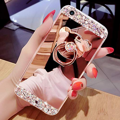 Misstars Miroir Coque pour Galaxy A20E Or Rose, Bling Glitter Diamant Strass Souple Silicone TPU Placage Housse de Protection avec Ours Anneau Support pour Samsung Galaxy A20E