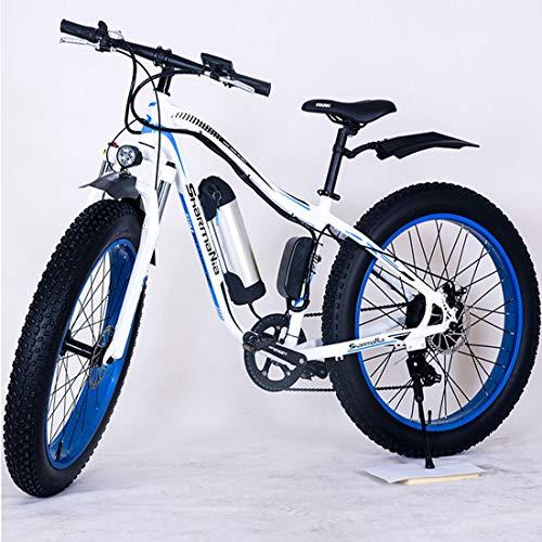 Jun Bicicleta Eléctrica para Adultos, Bicicleta De Montaña Masculina De 3 Velocidades, Freno De Disco De 26 Pulgadas, Neumático De Nieve con Horquilla Delantera (Batería De Litio Móvil 36V10.4)