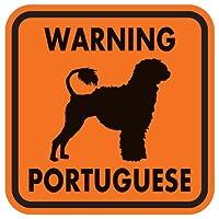 WARNING PORTUGUESE マグネットサイン:ポーチュギーズ/ライオンカット(オレンジ)Sサイズ