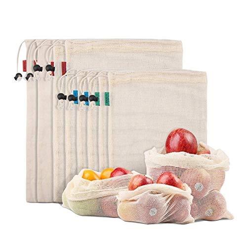 Lavado de usos múltiples Round Up Tazón Bolsa de verduras ecológico de frutas, verduras, Nevera Organizador, juguetes, Ligero y DrawstringDouble cosido, Tara Peso Tag, lavable para Camping, caravanas,
