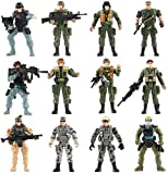WW2 US Army Men and SWAT Team Toy Soldiers Action Figures Playset with Military Weapons Accessories for Kids Boys Girls,12Pcs