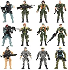 "Features 6 wwii US soldiers and 6 Special Forces Combat soldier action figures.Each Military Men Model is 4"" tall. They have excellent quality and very good details ,vivid expression,and can be bend, sit, stand, turn their heads,move their arms and l..."
