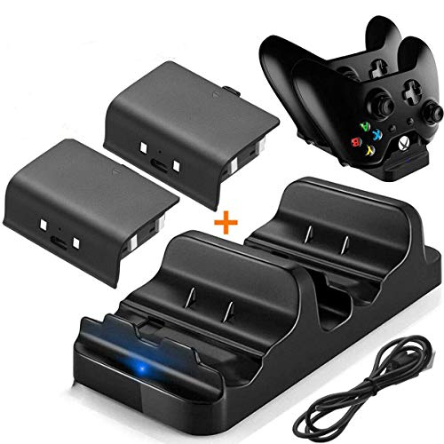 rongweiwang De Carga Dual del Cargador del Muelle con el Controlador de Estación de reemplazo 2X Batería Recargable para Xbox One