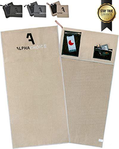 Alphachoice Sporthandtuch fürs Fitnessstudio mit Reißverschluss-Taschen/Gym Handtuch/Fitness Handtücher Damen & Herren 100cm x 50cm groß XXL (Beige)