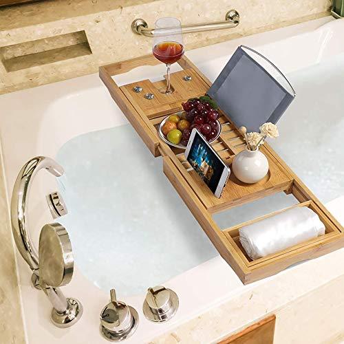 Bandeja de baño de bambú ajustable de lujo para bañera de 70 – 105 cm para una experiencia de hogar y spa, se adapta a la mayoría de tamaños de baño