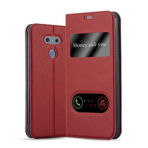 Cadorabo Custodia Libro per LG G6 in ROSSO ZAFFERANO - con Funzione Stand e Chiusura Magnetica - Portafoglio Cover Case Wallet Book Etui Protezione