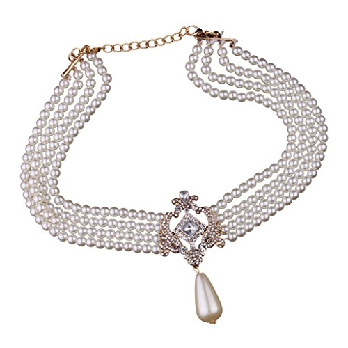 Bonarty Multi Strang 4 Schicht Kristall Simuliert Perlen Bib Choker Halskette