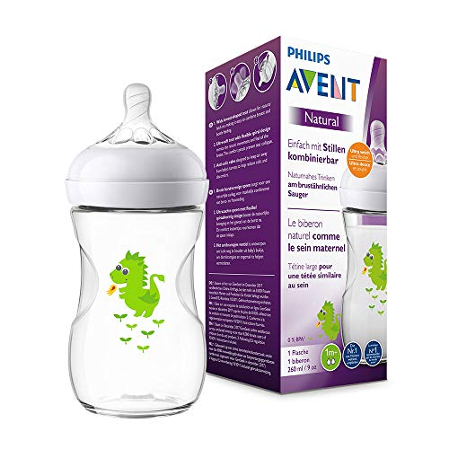 Philips Avent Natural Flasche SCF070/24, 260 ml, naturnahes Trinkverhalten, Anti-Kolik-System, Design Drache, 1er Pack