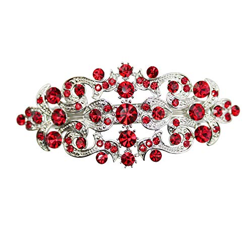 Faship Gorgeous Red Crystal Floral Hair Barrette Clip - Red