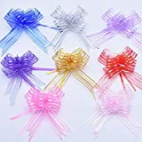 12 Pieces of Mixed Salad Bowl, Large Organza Bow, Gift wrap and Ribbon Bow, for Wedding Gift Baskets(30cm)