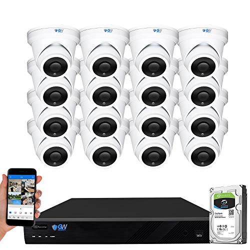 GW Security 16 Channel 4K NVR 6MP IP Surveillance Security Camera System with 16-Piece UltraHD 6MP H.265 Weatherproof Microphone Security Turret PoE Cameras