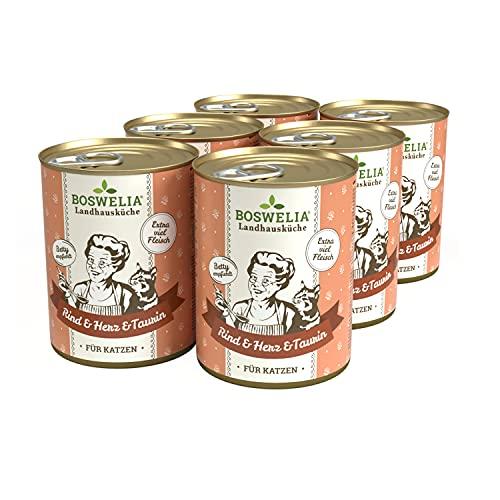 Boswelia Landhausküche Katze Rind & Herz 6X 400 g für alle Katzenrassen geeignet schonend gegart gesunder Stoffwechsel Dank Taurin