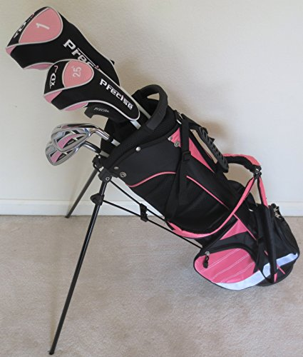 of paragon golf carts Girls Junior Golf Club Set with Stand Bag for Kids Ages 8-12 Pink Color Right Handed