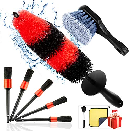 9Pcs Wheel & Rim Brush, car detail brush, 17-inch rim brush, 5 car wash detail brushes, short handle...