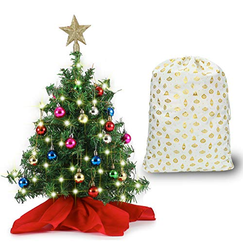 """20"""" Tabletop Mini Christmas Tree Set with Clear LED Lights, Star Treetop and Ornaments, Best DIY Christmas Decorations (Storage Bag Included)"""