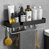 VOLPONE Multifunctional Bathroom Shelf with Towel Bar Wide Space Shower Shelf with Hooks Wall Mounted Storage Organizer(17.5in,1 Pack Black)