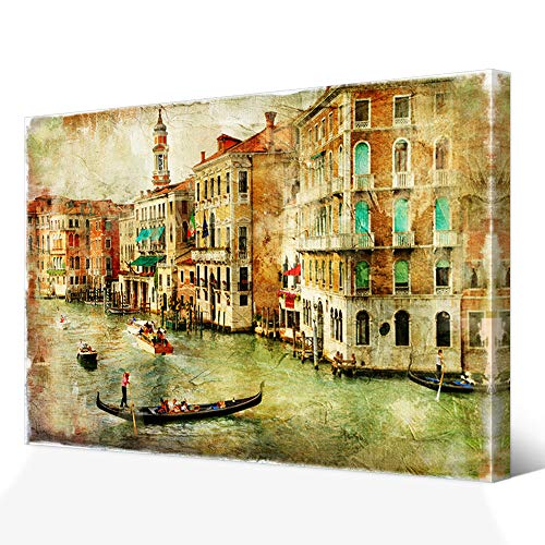 VVOVV Wall Decor Venice Wall Art Vintage Italy City Picture Art Print Stretched Framed Ready to Hang Home Office Living Wall Decor
