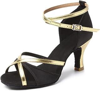 HIPPOSEUS Femmes Chaussures de Danse Latine Talon Haut Dames Bretelles de Cheville Salle de Bal Salsa Chaussures de Danse ...