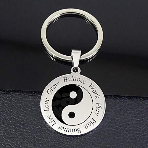 Inveroo Yin Yang Portachiavi più Venduto Lavoro Gioca Piano Equilibrio Live Amore Crescere Equilibrio Lettera Disco Portachiavi Gioielli
