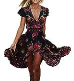 R.Vivimos Women's Summer Vintage Floral Print Deep V Neck High Low Long Dresses (XL,Black)