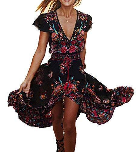 R.Vivimos Women's Summer Vintage Floral Print Deep V Neck High Low Long Dresses (Medium,Black)