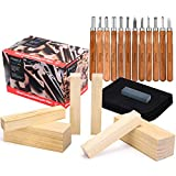 Magicfly Wood Carving Tools with 12 Pieces SK10 Carbon Steel Whittling Kit & 6 Pine Wood Blocks Bundle, Storage Bag, Linoleum Carving Tools for Pumpkin, Basswood, Beginners, Carving Hobby