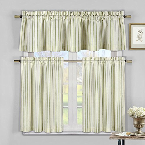 Duck River Textiles - Xandra Cabana Striped Linen Textured Kitchen Tier & Valance Set | Small Window Curtain for Cafe, Bath, Laundry, Bedroom - (Sage Green)