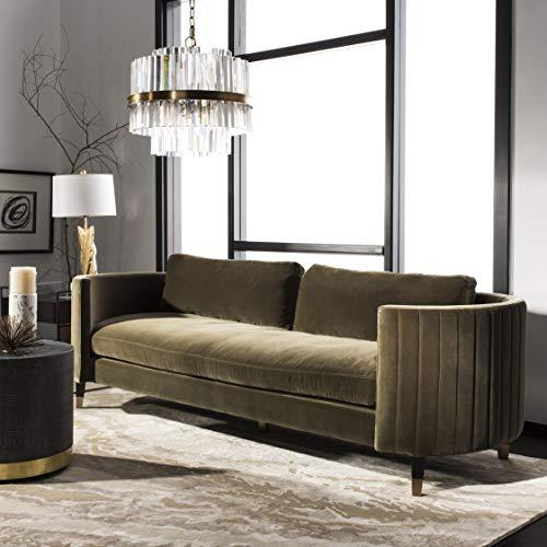 Safavieh Couture Home Winford Modern Giotto Dark Olive Green Velvet and Espresso Sofa