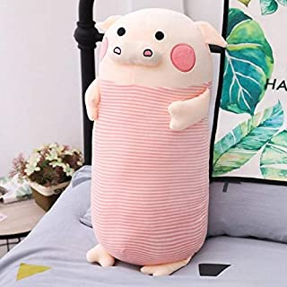 PUNIDAMAN 1Pc Soft P Plush Pillow Cute Cartoon Pig Stuffed Animal Doll Sofa Bed Long Cushion Toy Girlfriends Lovers Birthday Presents Must Haves for Kids 1 Year Old Girl Gifts The Favourite DVD