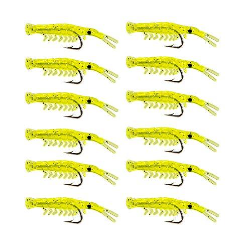 Gcroet Pesca Pescados Kit del camarón Cebo atraer a la Pesca de los Pescados trastos de Silicona Suave Señuelos Conjunto Sharp Hook 50pack 100pcs Amarillas