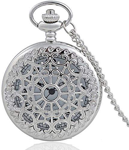 Taschen-Uhr Personalisierte Silber Web hohle Quarz Taschenuhr mit Kette Retro klassische hängende Halskette Uhr for Familie und Freunde Geschenk wxxdlooa (Color : Silver)