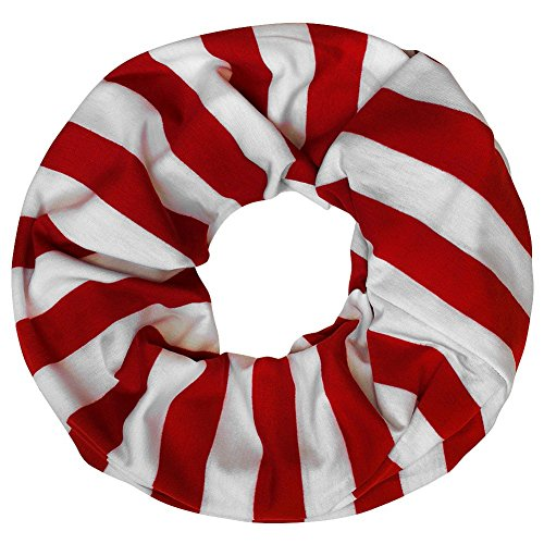 Soul-Cats® Loopschal Streifen rot schwarz Schal Halstuch Loop gestreift, Farbe:rot