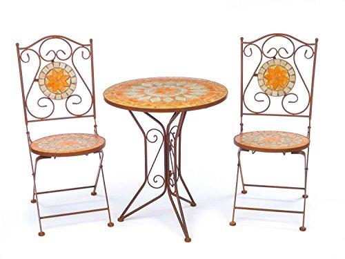 aubaho Garnitur Gartentisch 2 Stühle Eisen Fliesen Mosaik Garten Tisch Stuhl antik Stil