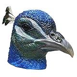 Realistic Peacock Bird Latex Mask Halloween Costume Party Latex Animal Bird Head Mask