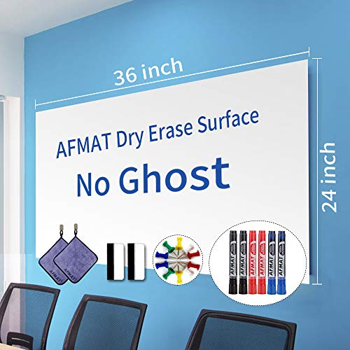 """White Board Paper, Dry Erase Wallpaper, Peel and Stick Dry Erase Board, 36"""" x 24"""" Self Adhesive White Board Wall Paper for Kids Home & Classroom, Whiteboard Sticky Paper with 6 Markers, No Ghost"""