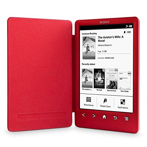 Sony Reader (PRS-T3/RC). Rot: Kompakter und sehr leichter E-Book Reader mit integriertem Einband