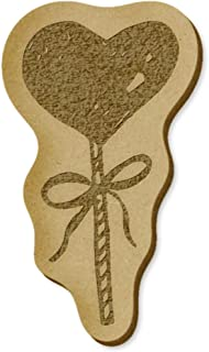 6 x 'Heart Lollipop' MDF Craft Embellishments (EB00013282)