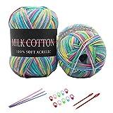 6X 50g Knitting Rainbow Wool Yarn Balls Colorful Hand Crochet Knitting Chunky Double Acrylic Yarn Set, 23 Colors, with 3 Crochet Hooks, 2 Needles, 10 Crochet Locking Stitch Markers (18)