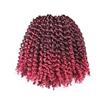 Toyotress Jerry Curl Crochet Braiding Hair 6 Packs Synthetic Ombre Burgundy Marlybob Kinky Curly Crochet Hair Extensions
