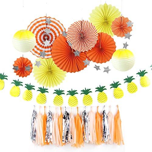 Easy Joy Summer Party Birthday Wedding Decoration Kit Paper Fans Pineapple Banner Tassel Garlands for Beach Carnival Anniversary Hanging Decoration (Orange)