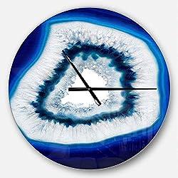 Designart Blue Slice Agate Crystal' Oversized Modern Metal Clock, Circle Wall Decoration Art, 23x23 Inches