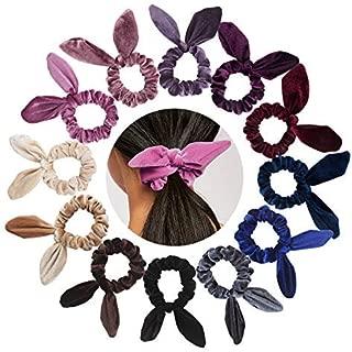 TOBATOBA 12 Pack Velvet Scrunchy Rabbit Bunny Ears Hair Scrunchies Elastic Hair Bands Hair Bobbles Hair Ties for Women, 12 colors