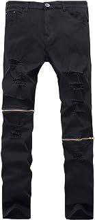 Men's Ripped Skinny Distressed Zipper Jeans Straight Slim Fit Destroyed Biker Pants