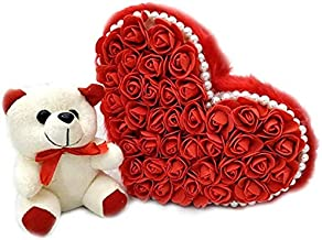 SameDayDelivery Flowers Bouquet Fresh Roses I Valentine Gift for Girlfriend I Valentine Gift for Boyfriend I Gift for Girls I Wedding Gift for Couples (143 Real Red Roses & Cute Teddy Bear)